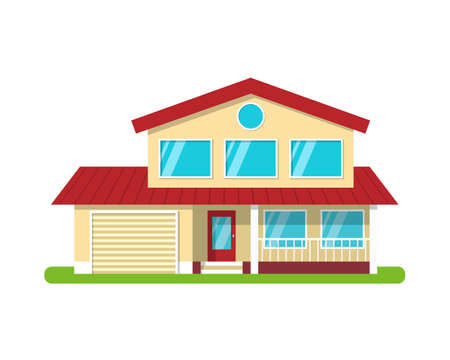 Modern cottage house, front view, isolated on white