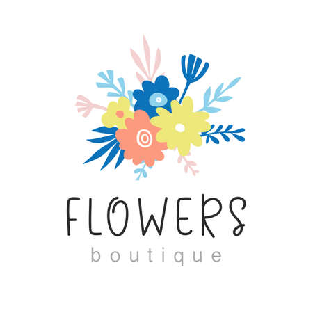 Flowers boutique logo design  イラスト・ベクター素材