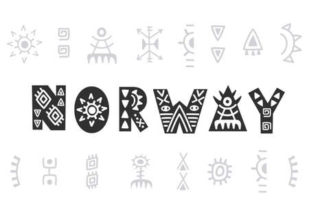 Norway. Vector hand lettering, isolated on white. Scandinavian style tee shirt print Illustration