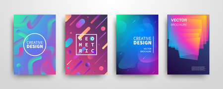 Modern futuristic abstract dynamic geometric covers set. Universe colorful trendy banner templates design. Cool gradient shapes. Poster background composition. Vector illustration.