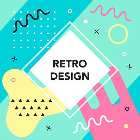 Memphis style banner template. 80-90s trendy fashion background Reklamní fotografie