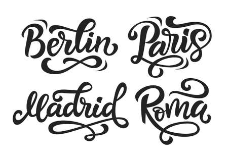 Paris, Berlin, Madrid, Rome modern city hand written brush lettering set, isolated on white background. Ink calligraphy. Tee shirt print, typography card, mug, bag, poster design. Vector illustration. 向量圖像