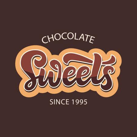 Etiqueta de logotipo de tienda de dulces de chocolate