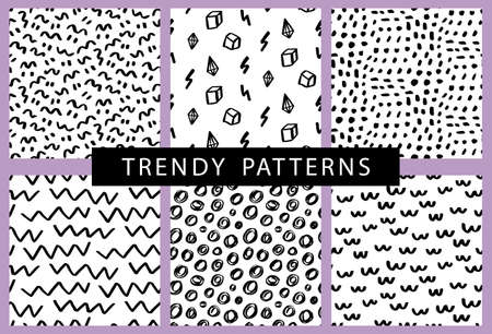 Trendy hand drawn minimal seamless patterns set. Apparel, textile, fabric, web page background. 80-90s fashion covers with geometric shapes. Vector illustration. Black and white abstract wallpaper.