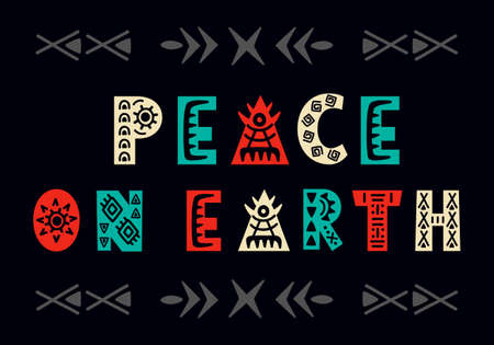 Peace on earth. Christmas greeting card. Scandinavian style hand lettering label with creative letters. Trendy poster typography design. Holiday vector illustration