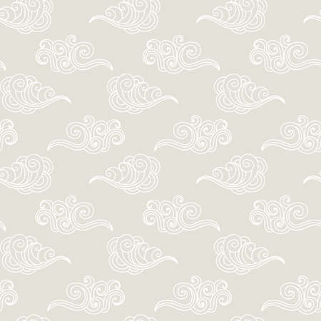 Japanese, Chinese ocean waves, clouds seamless pattern