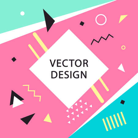 Memphis style banner template. 80-90s trendy fashion background with geometric shapes. Vector illustration. Poster, invitation, greeting card, cover design.