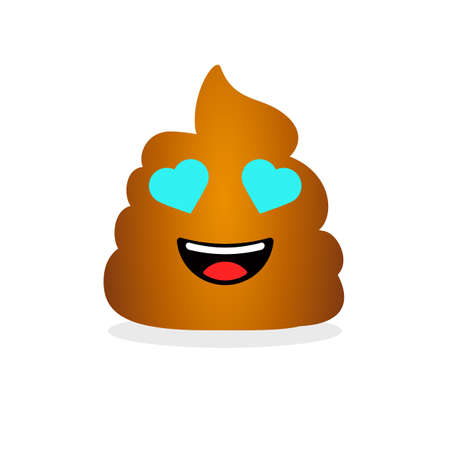 Cute funny poop with hearts on eyes. Emotional shit icon