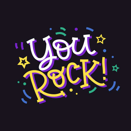 You rock. Hand made colorful lettering for t-shirts print, bags, apparel, mugs, posters, home decor, postcards and banners, label stickers. Vector typography. Archivio Fotografico - 127215619