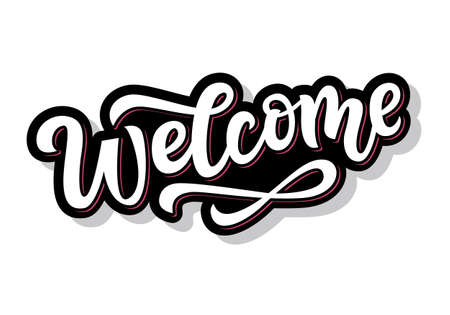 Bienvenido pegatina de letras escritas a mano para redes sociales. Caligrafía de pincel moderno, aislado sobre fondo blanco. Diseño de invitación de boda