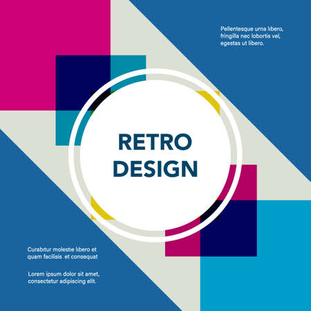 Retro geometric banner. Mid century modern template. Minimal creative fashion background. Vector illustration. Poster, invitation, greeting card, cover design. Vettoriali