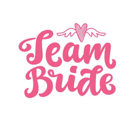 Impresión de letras de vector de novia de equipo