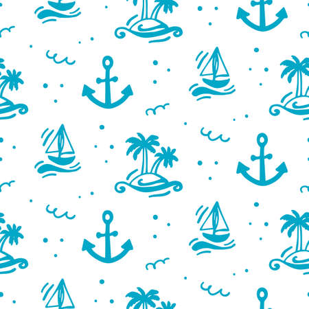Summer vacation seamless pattern. Travel vector illustration. Black and white doodle style. Creative scandinavian background. Ilustracja