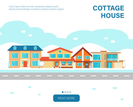 Modern winter cottage house. Web page urban design template. Real Estate concept. Flat Style American or Sweden Townhouse. 일러스트