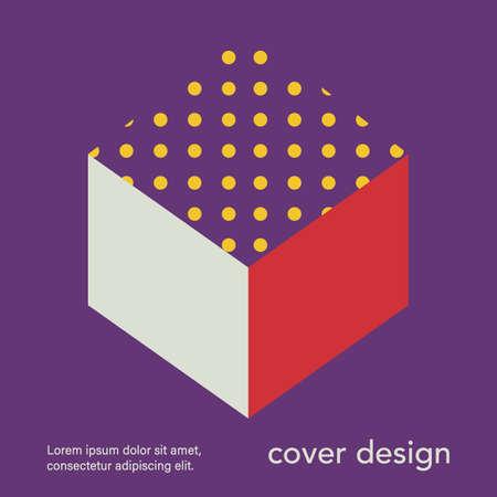 Retro geometric banner. Mid century modern template. Minimal creative fashion background. Vector illustration. Poster, invitation, greeting card, cover design.