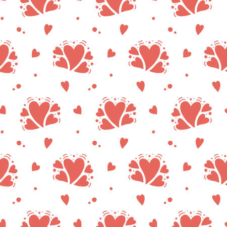 Vector hand drawn hearts seamless pattern. Abstract repeated doodle sketch background. Valentines day, wedding design. Girlish romantic textile, clothes, wrapping paper. Red on white Çizim