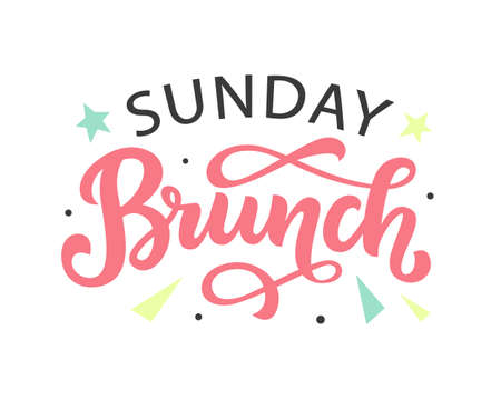Sunday Brunch calligraphy vector logo badge