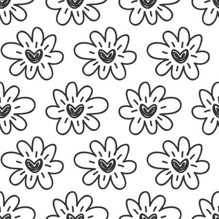 Vector hand drawn flowers hearts seamless pattern. Abstract repeated doodle sketch background. Valentines day, wedding design. Girlish romantic textile, clothes, wrapping paper. Black on white