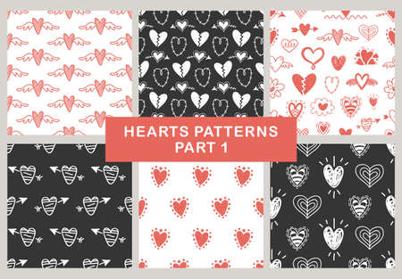 Vector hand drawn hearts seamless patterns set. Abstract repeated doodle sketch background. Valentines day, wedding design. Girlish romantic textile, clothes, wrapping paper. Black and red. Çizim