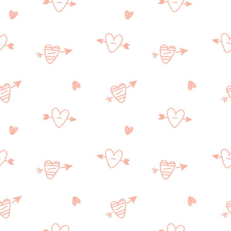 Hearts hand drawn repeat seamless pattern. Vector Illustration  イラスト・ベクター素材