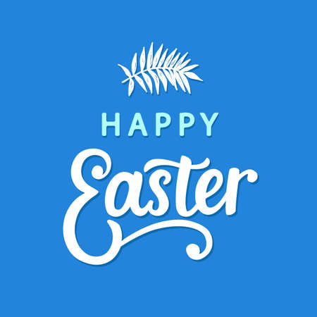 Happy Easter typography poster template with hand written modern calligraphy.. 스톡 콘텐츠 - 125328585