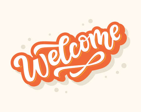 Welcome hand written lettering sticker