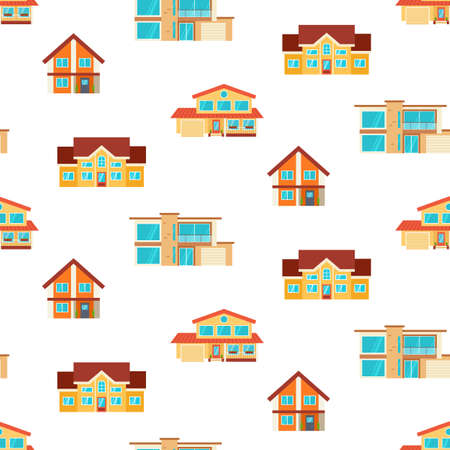 Houses seamless repeat pattern. Modern cottages, front view, isolated on white. Real Estate. Flat Style American or Sweden Townhouse.  イラスト・ベクター素材