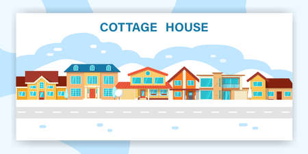 Modern winter cottage house. Web page urban design template. Real Estate concept. Flat Style American or Sweden Townhouse. Standard-Bild - 124948523