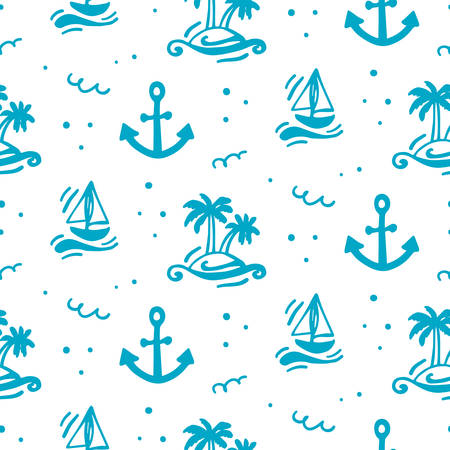 Summer vacation seamless pattern. Travel vector illustration. Black and white doodle style. Creative scandinavian background. Çizim