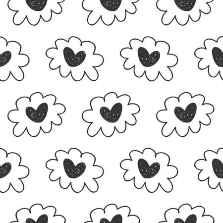Vector hand drawn hearts seamless pattern. Abstract repeated doodle sketch background. Valentines day, wedding design. Girlish romantic textile, clothes, wrapping paper. Black on white