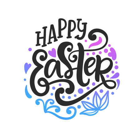 Happy Easter badge emblem with lettering inscription. Handwritten modern calligraphy. Banner, greeting card template. Vector illustration