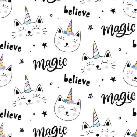 Caticorns. Vector Cat unicorn seamless pattern. Magical hand drawn cute kitty cartoon character. For kids fashion textile, birthday greeting card, baby shower design, wrapping paper. Çizim