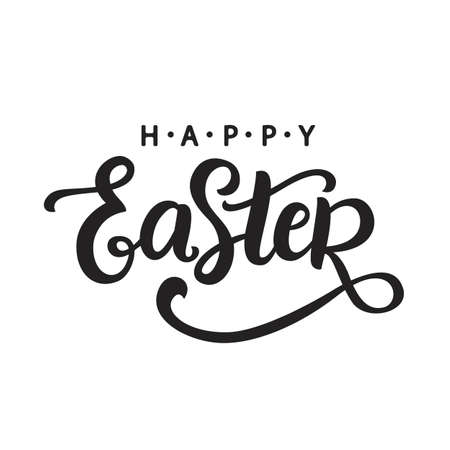 Happy Easter calligraphy. Holiday banner, greeting card template with hand written modern lettering. Typography design. Vector illustration