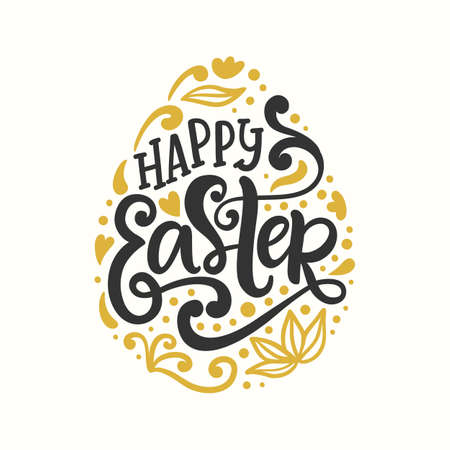 Happy Easter Egg badge emblem with lettering inscription. Handwritten modern calligraphy. Banner, greeting card template. Vector illustration
