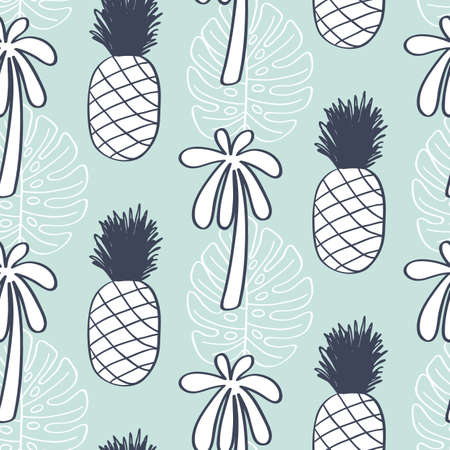 Tropical Leaves seamless pattern, modern hand drawn nature foliage and pineapples. Summer Hawaii jungle exotic plants, textile print, clothes, wallpaper, wrapping paper. Trendy surface design. Illustration