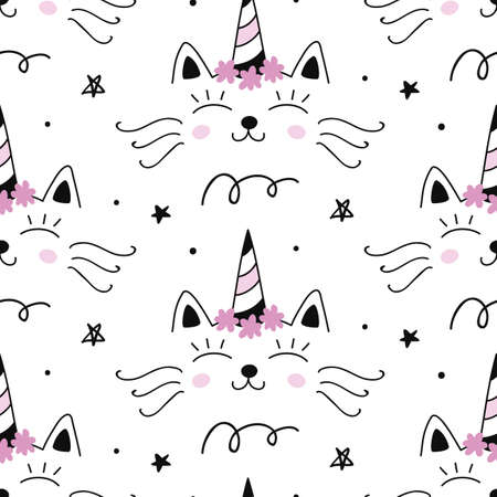 Vector Cat unicorn Caticorn seamless pattern. Magical hand drawn cute kitty cartoon character. For kids fashion textile, birthday greeting card, baby shower design, wrapping paper. Illustration