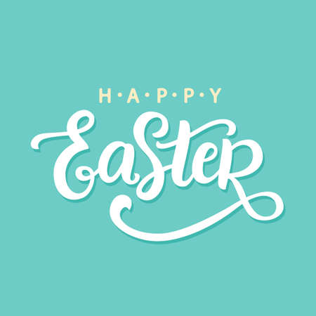 Happy Easter calligrsphy. Holiday banner, greeting card template with hand written modern lettering. Typography design. Vector illustration