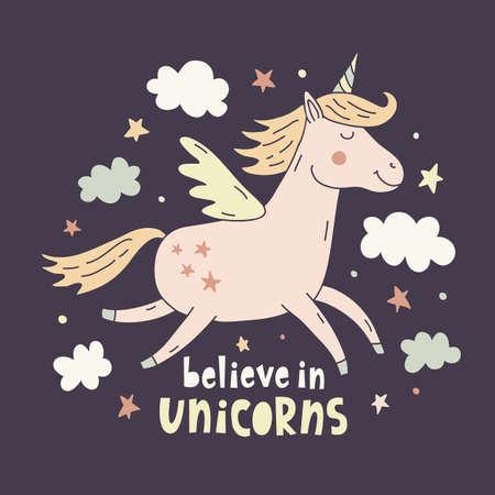 Hand drawn unicorn cute poster, card illustration, T-shirt design.
