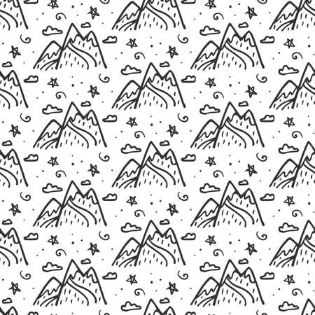 Mountains seamless repeating pattern background. Hand drawn doodle sketch elements.