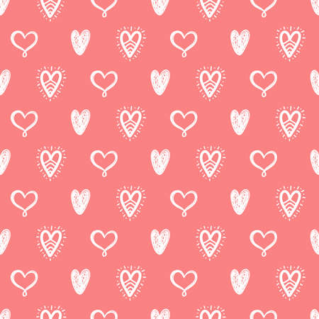 Vector hand drawn hearts seamless pattern. Abstract repeated doodle sketch background. Valentines day, wedding design. Girlish romantic textile, clothes, wrapping paper. Иллюстрация