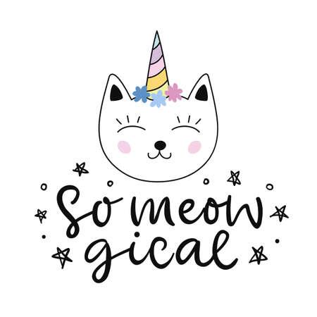 Caticorn. Vector cute cat unicorn cartoon character. Magic hand drawn kitty for t shirt print, kids birthday party, sticker, baby shower, nursery poster, greeting card illustration. Illustration