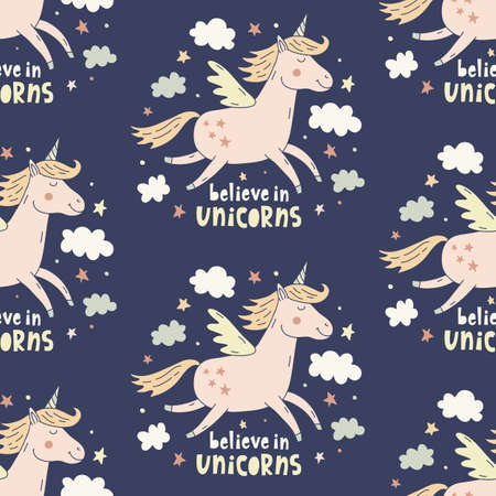 Hand drawn unicorn cute seamless repeating pattern. Endless textile background, fashion fabric graphic design, apparel, wallpaper, wrapping paper prints.