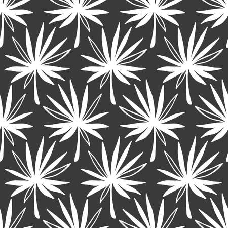 Tropical Leaves seamless pattern, modern hand drawn nature foliage. Summer Hawaii jungle exotic plants, textile print, clothes, wallpaper, wrapping paper. Black and white. Trendy surface design.