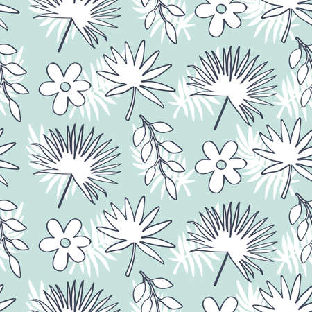 Tropical Leaves seamless pattern, modern hand drawn nature foliage. Summer Hawaii jungle exotic plants, textile print, clothes, wallpaper, wrapping paper. Trendy surface design. Illustration