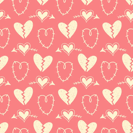Vector hand drawn hearts seamless pattern. Abstract repeated doodle sketch background. Valentines day, wedding design. Girlish romantic textile, clothes, wrapping paper, invitation card. Illustration