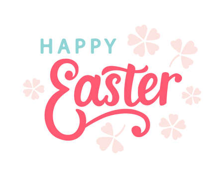 Happy Easter typography poster template with hand written modern calligraphy.. 스톡 콘텐츠 - 124462412