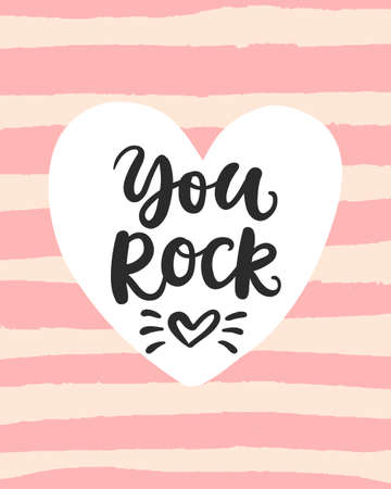 You Rock Valentines day card with hand drawn brush lettering