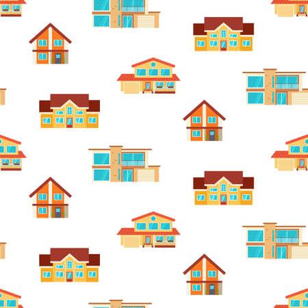 Houses seamless repeat pattern Standard-Bild - 120884924