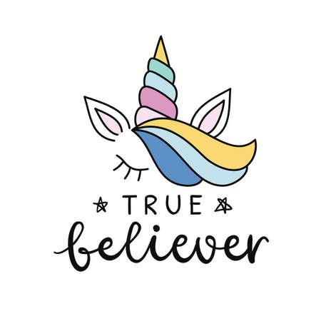 Vector cute unicorn hand lettering poster. Magic dream hand drawn t shirt print, sticker, kids birthday party, baby shower, nursery decoration, greeting card illustration.