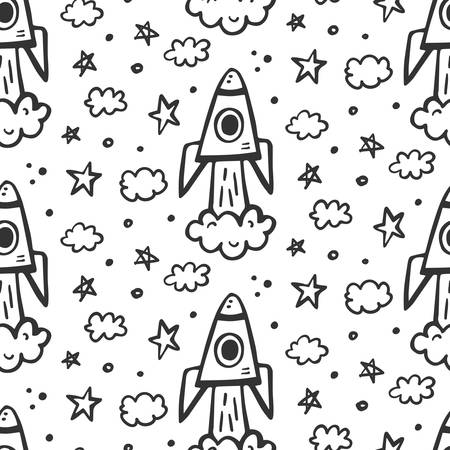 Outer Space travel seamless pattern